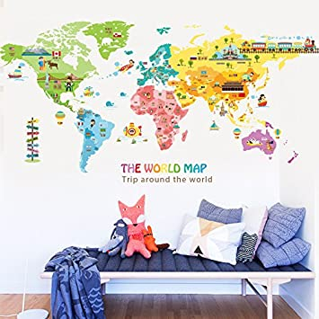 AuBergewohnlich S.Twl.E Wandaufkleber Wandmalerei Kunst Dekor Abnehmbare Wasserdichte  Kinderzimmer Schlafzimmer Wohnzimmer Weltkarte Dekoration