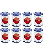 Filterpatroner för pool typ II pool, filterpatron för Bestway filterpatroner storlek 2, lämplig för Bestway 58094 filterpatron för uppblåsbar pool, patronfilterpapper