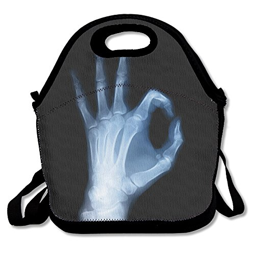 X-ray Image Of Hand Lunch Tote Bag Travel School Picnic Lunch Box Bag Lunch Holder For Men, Women, Kids