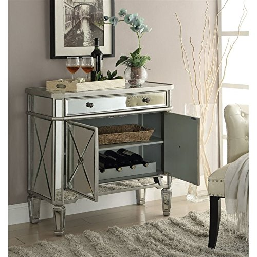 Mirror Panel 2-Door Wine Cabinet with Removable Wine Rack Silver by Coaster Home Furnishings (Image #2)