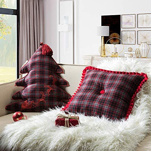 14 Karat Home Christmas Tree Shaped and Square Ruffle Tufted Plaid Throw Pillows Set of 2
