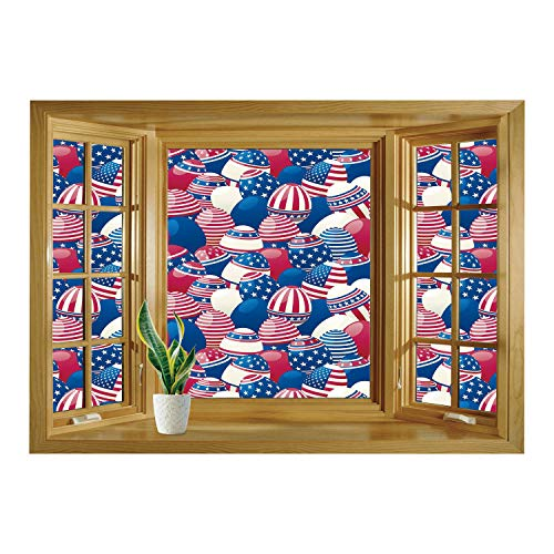 SCOCICI Wall Sticker,Window Looking Out Into/USA,Traditional Easter Eggs with American Flag Pattern Religion Motherland Print Decorative,Navy Blue White Red/Wall Sticker Mural
