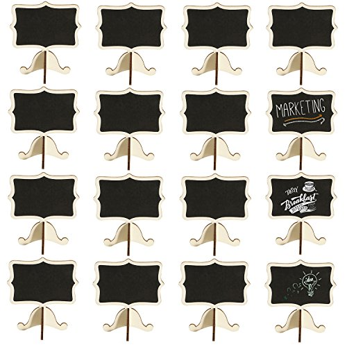 Leyaron 15 Pack Mini Chalkboards Place Cards with Easel Stand - Wood Rectangle Small Chalkboard Signs for Wedding, Birthday Parties, Table Numbers, Food Signs and Special Event Decoration]()
