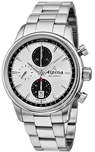 Alpina Alpiner Chronograph Automatic Mens Stainless Steel Swiss Watch - 41mm Silver Face Automatic Chronograph Telemeter Watch for Men AL-750SG4E6B