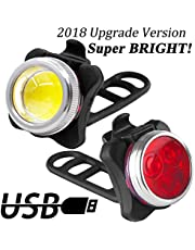 LENDOO LED Bike Lights Set,【UPGRADE VERSION】USB Rechargeable Bicycle Lights, Headlight Taillight Combinations, 650 mAh, with 4 Light Modes Lithium Battery Ideal for Mountain Bike Light, Cycle Lights