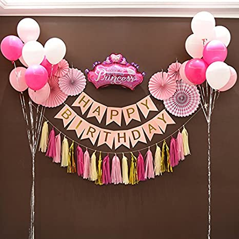 Amazon.com: 1st Birthday Girl Decorations Kit - Beautiful ...