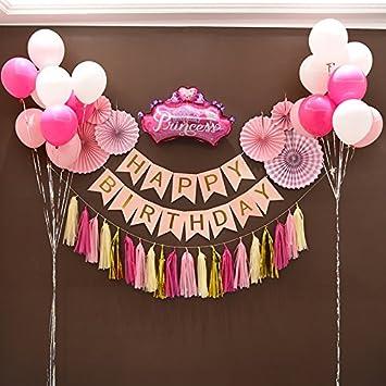 Primer cumpleaños niña decoración kit - Hermosos colores ...