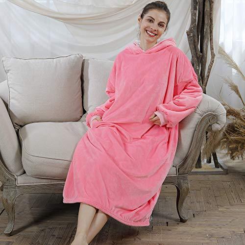 AmyHomie Blanket Sweatshirt, Oversized Sherpa Hooded Sweatshirt,Wearable Fleecehug Hoodie Blanket with Pocket for Adults…