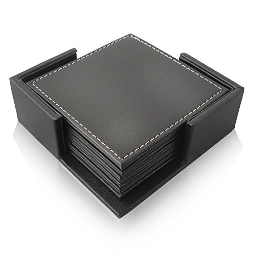 Leather Set Black Coaster - SMONET PU Dark Leather Square Drink Coasters Cup Mats, Set of 6 Black PU Leather Drink Coasters with Coaster Holder Set Home Office Hotel Use (Color: Sleek Black, Size: 4 x 4 inches)