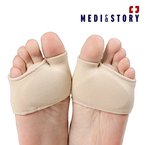 Metatarsal Ball of Foot Sleeves Forefoot Pain Relief Pad Gel Cushion Support by Medi&Story (L / women 8~11, men 7.5~10)