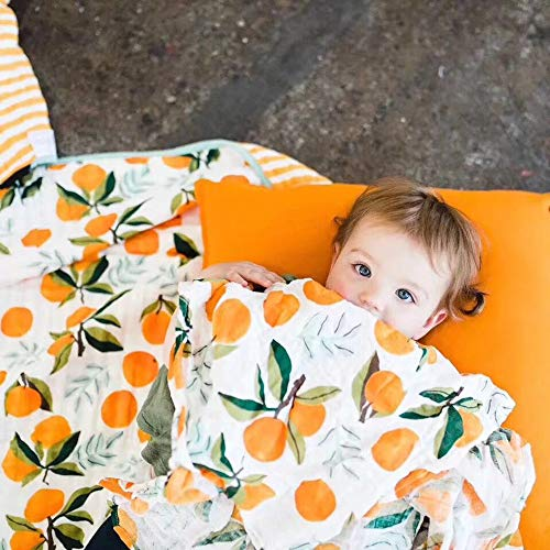 (Baby Muslin Swaddle Blankets Soft Neutral Cotton Blend Bamboo Fiber Receiving Blanket Bathing Towel Boy Girl Unisex Toddler Infant Newborn 47 X 47 Inches (Orange))