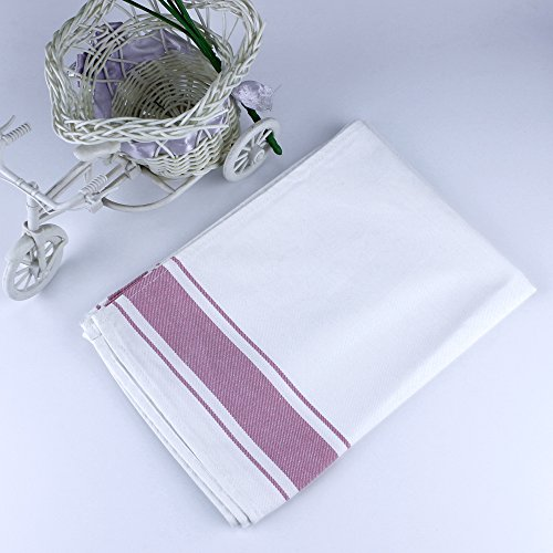 Ieasycan Pack 4 Vintage Design Dinner Napkins White With Red Strips 100% Cotton, 20