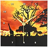 3dRose dc_173293_1 African Giraffe on African Plains At Sunset, Animal Safari Africa Desk Clock, 6 by 6-Inch