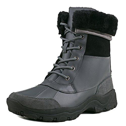 Shenduo Herren Halbschaft Schlupfstiefel Leder Winterstiefel Wasserdicht Stiefel Winter Boots DA5521 Grau/Schwarz