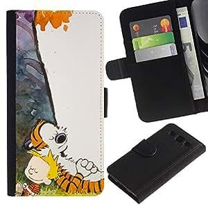 JackGot ( Tigre y Boy ) Samsung Galaxy S3 III i9300 i747 la tarjeta de Crédito Slots PU Funda de cuero Monedero caso cubierta de piel