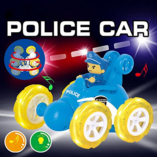 Inverlee 360° Spinning And Flips With Color Flash & Music Remote Control Truck Great Gift for Kids (Blue)