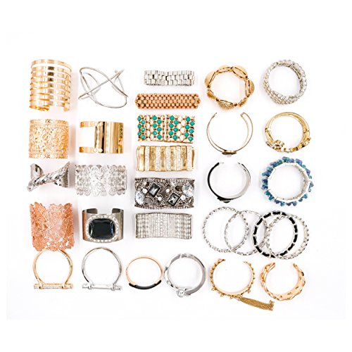 Choice by Choi Fashion Jewelry Bracelets, Gold & Silver, 30 Pieces in Bulk for Wholesale, Assorted Bangle, Cuff, Link, Wrap & Strand made of Zinc, Steel, Brass -