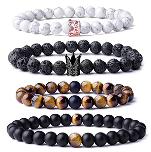 WRCXSTONE Distance Bracelets for Lover Natural Matte Agate Stone With CZ Crown King Beads Couple Bracelet (Crown 20 Natural)