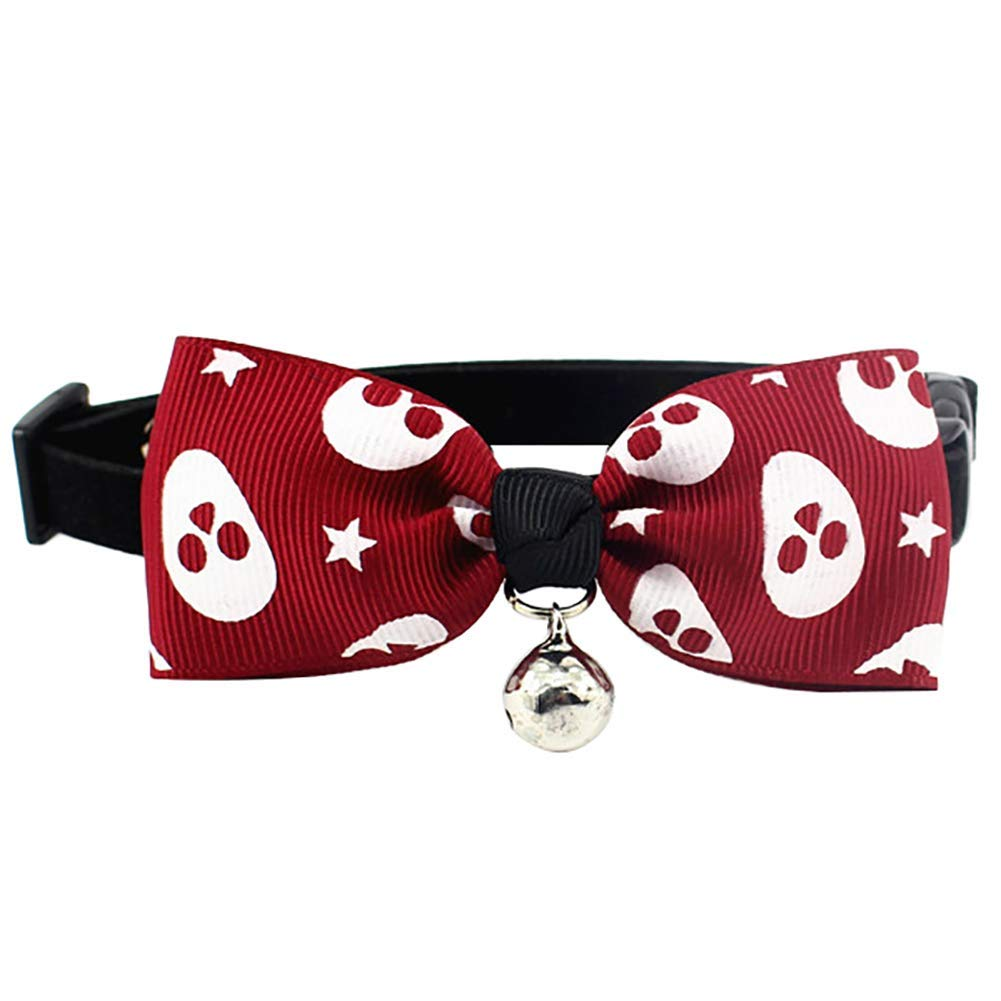 PET COLLAR HOME Pet Dog Tie Adjustable Collar Bow Tie Floral Pattern Bow Tie for Puppy Kitten Small Cats Dogs Pets-Dark bluee XS (Size   Red Wine M)