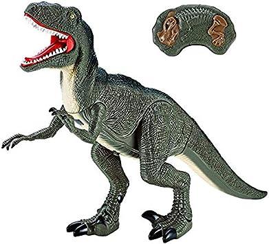 Dinosaurio Teledirigido RC Muy Realista Velociraptor (Movimiento, Luz y Sonido) Juguete Radiocontrol para Niños | Control Remoto Robot Dinosaurios Juguetes Interactivo