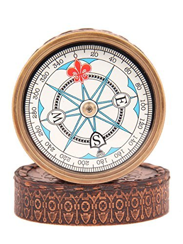 Fathers Day Gifts Pocket Compass Maritime Office Desk Accessories Camping Accessories Collectibles with Cover 3 (London Halloween Stores)