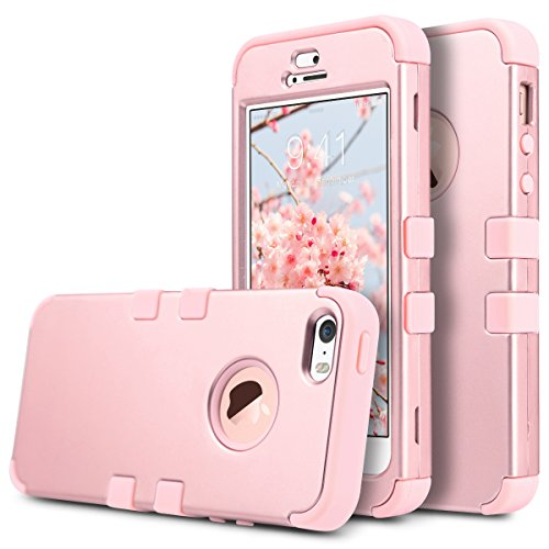 ULAK iPhone SE Case,iPhone 5S Case, Heavy Duty Protection Case with Hybrid High Soft Silicone + Hard PC Case Slim Fit for Apple iPhone 5/5S/SE (Rose Gold)