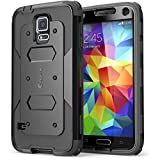 Galaxy S5 Case, i-Blason Armorbox Dual Layer Hybrid Full-body Protective Case with Front Cover and Built-in Screen Protector/Impact Resistant Bumpers for Samsung Galaxy S5 (Black)
