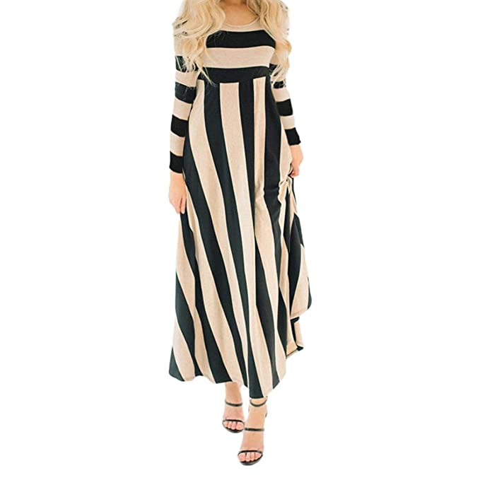 fbac90ca452e4 Minisoya Women Long Sleeve Pleated Casual Loose Striped Beach Dress  Cocktail Evening Party Long Maxi Dress