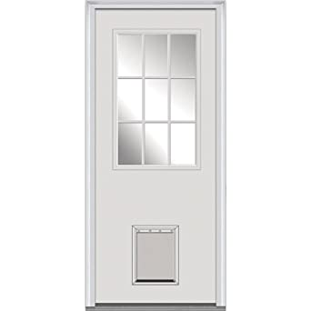 National Door Company Z000344L Fiberglass Smooth Primed, Left Hand In Swing,  Prehung Front