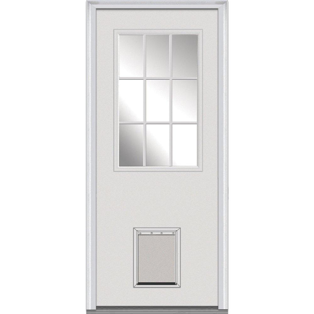 National Door Company Z000762L Steel Primed, Left Hand In-swing, Prehung Front Door, 9 Lite with Pet Door, Clear Glass, 32'' x 80''