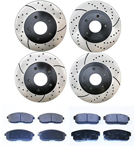 Prime Choice Auto Parts BRAKEPKG328 2 Front and 2 Rear Performance Brake Rotors and 8 Semi Metallic Brake Pads