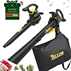 Leaf Blower Vacuum, TECCPO 12-Amp 250MPH 410CFM 3 in 1 Corded Electric Two-Speed
