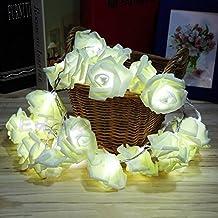 LIYUDL 20LED Rose Flower String Light, Battery Operating Fairy Wedding Party Christmas Decoration String Light White