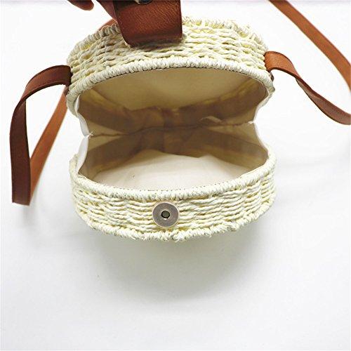 para Bolso De Mano Tejido De Hecho Redondo Fresco con De Playa Paja A Beige Y Sombrero El Adecuado Paja Elegante para Mujeres Verano pqqt4