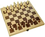 "Classic Wooden Chess Set 15"" Folding Board Inlaid with Storage and 3"" King"