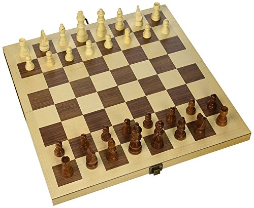 """Hansen Games Classic Natural Wood Wooden Chess Set 15"""" Inlaid Board with Hand Carved Chessmen and (Staunton Deluxe Chessmen Set)"""