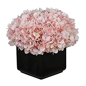 House of Silk Flowers Artificial Hydrangea in Large Black Cube Ceramic (Baby Pink) 8