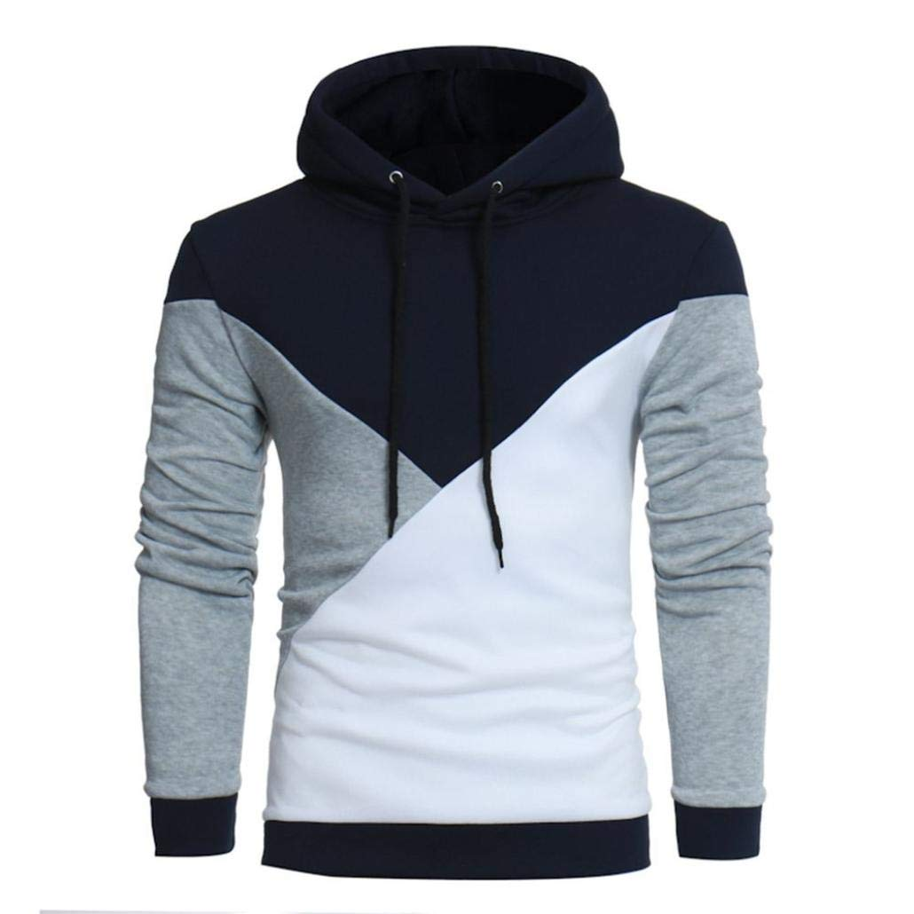 Men Hoodie Big and Tall Long Sleeve Color Block Patchwork Sports Sweatshirt Top(A-Gray,Bust:38''/Tag:L)