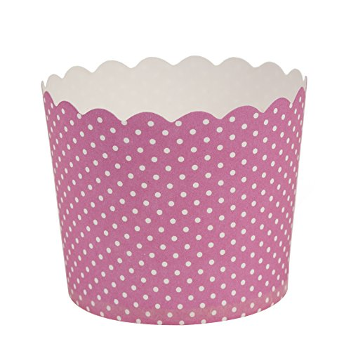 Blue Sky 1257 16 Count Scalloped Polka Dots Cupcake Baking Cups, Large, Pink -