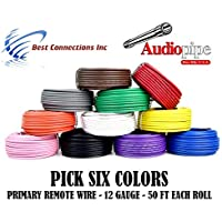 12 GA GAUGE 50 FT ROLLS PRIMARY AUTO REMOTE POWER GROUND WIRE CABLE (6 COLORS)