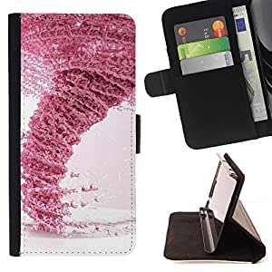 DEVIL CASE - FOR HTC One M7 - Design Pink Tornado - Style PU Leather Case Wallet Flip Stand Flap Closure Cover