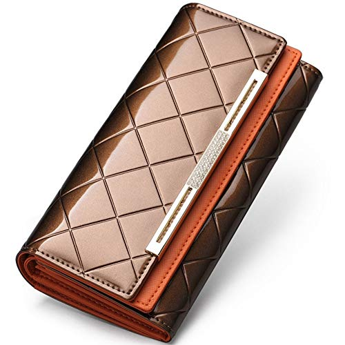 (Womens Genuine Leather Clutch Wrist Bag Handbag Organizer Phone Checkbook Wallet Card Case Phone Purse,Golden)