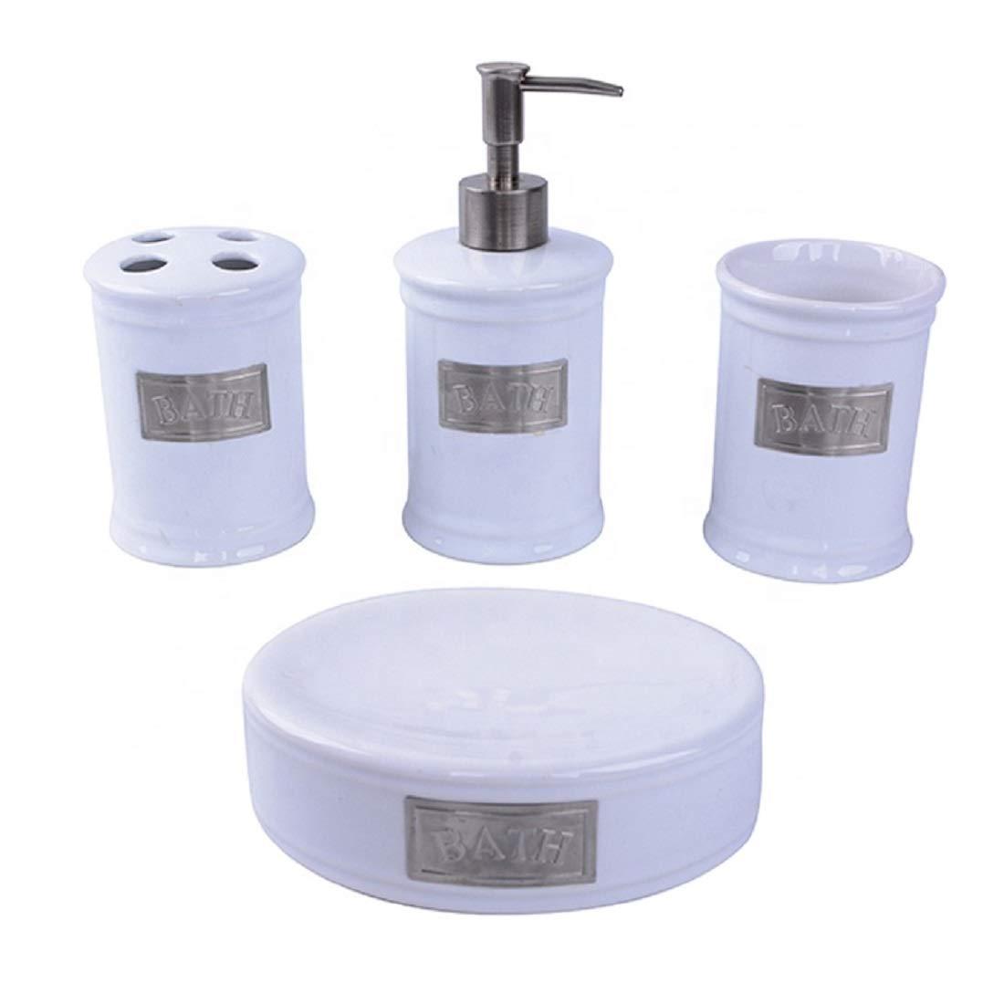 Contemporary Chrome Plated 4 Pcs White Ceramic Modern Bathroom Accessories