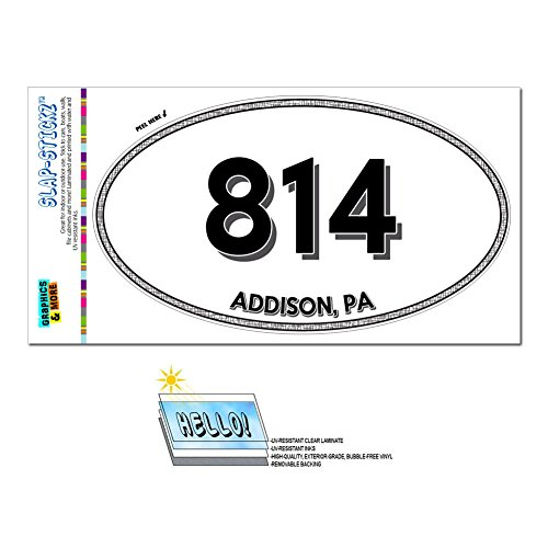 Graphics and More Area Code Oval Window Sticker 814 Pennsylvania PA Aaronsburg - Clarington - Addison