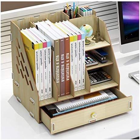 Color : Natural Die Datei Shelf Ordner Storage Box Rattan Desktop-Multilayer-Rahmen Portfolio Bag Buch Information Storage Shelf Buchst/änder Box