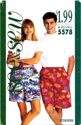 See & Sew 5578 Sewing Pattern Misses Unisex Mens Shorts Hip Size 31 - 45