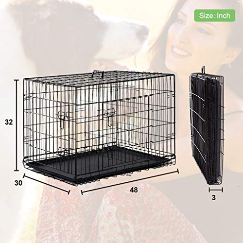 BestPet Large Dog Crate Cage Metal Wire Kennel Double-Door Folding Pet Animal Pet Cage with Plastic Tray and Handle,48'' by BestPet (Image #6)