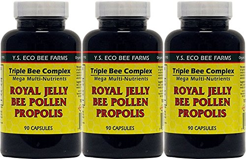 YS Organics Triple Bee Complex, Royal Jelly, Bee Pollen, Propolis, 90 Caps - 3 (Royal Jelly 90 Caps)