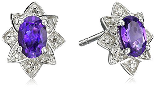 Sterling Silver Amethyst and Diamond Accent Halo Star Stud Earrings