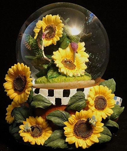 Sculptured Hummingbird in a Sunflowers Snow Globe - Water Ball Music Box